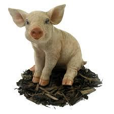 image of sitting piglet pig resin garden ornament