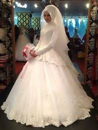 long sleeve ball gown lace muslim arabic wedding dress with hijab
