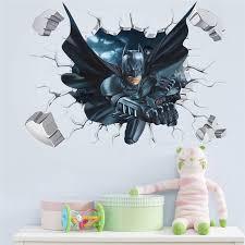 <b>Cartoon</b> Hero Broken Wall <b>Batman Spiderman</b> Wall Sticker For Kids ...