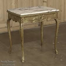 marble top end tables. 19th Century French Baroque Giltwood Marble Top End Table Tables E