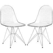 Set of 2 eames eiffel dkr style wire chair poly bark