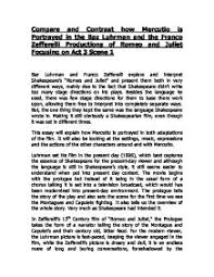 compare and contrast how mercutio is portrayed in the baz luhrman  page 1 zoom in
