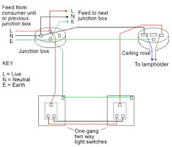 two way light switch method 1 two way lighting circuit using junction boxes fig 1