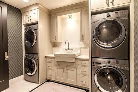 stackable washer and dryer and laundry closet with front loading washer and dryer and built
