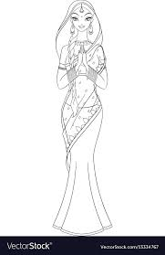 Outlined Indian Girl In Sari Coloring Page Vector Image
