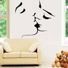 Wall Decor Stickers For Living Room Aliexpresscom Buy 8468 Kissing Couple Painting Home Bedroom
