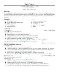Auto Mechanic Resume Templates Sample Resume Automotive Technician Automotive Technician Resume