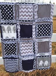 Navy Blue and Gray Elephant Rag Quilt | A Vision to Remember All ... & navy blue and gray elephant rag quilt for baby boy crib or toddler bed Adamdwight.com