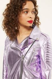 lilac metallic leather biker jacket