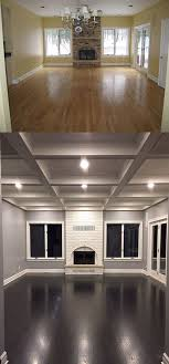 what a difference a coffered ceiling painted fireplace gray walls and dark wood floors make walls are sherwin williams march wind and trim is benjamin