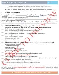 Checklist For School Comprehensive Literacy Checklist For School Aged Children Smart