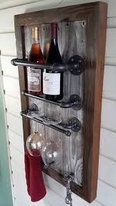 wine rack reclaimed wood barn wood industrial pipe wine julia
