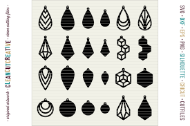 set of 24 faux leather earrings svg dxf eps png craft file example image 2