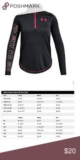Under Armour Sweater Size Chart Under Armour Girls Black Quarter Zip Top S M New With Tags