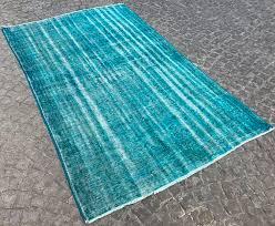 blue oushak rug blue oushak rug vintage overdyed carpet traditional distressed carpet wool and cotton ethnic