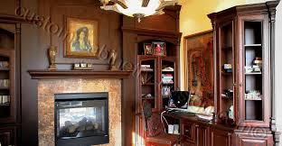 custom home office design. Unique Custom Office Design Around The Fireplace And Custom Home Design