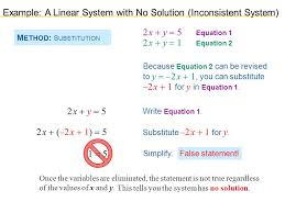 example a linear system with no solution inconsistent system show that this linear