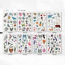 мульти товары милые животные рука татуировки кошка птица цветок лиса олень