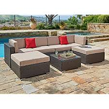 waterproof cushions for outdoor furniture. Suncrown Outdoor Furniture Sectional Sofa Set 7Piece AllWeather Brown Waterproof Cushions For R