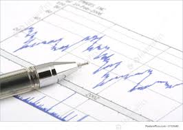 Tip Stock Chart Investment Concept Focus On The Tip Of The Ballpoint Pen