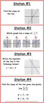 slope and linear equations stations 8 ee b 6