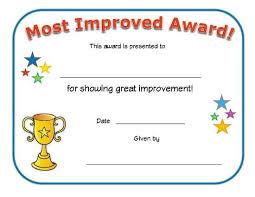 Most Improved Award Printable Certificates Kids Awards