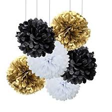 Paper Flower Balls To Hang From Ceiling 18pcs Black And White Gold Craft Tissue Paper Pom Poms Kit Hanging Decorations Ceiling Hangs Wall Decor Tissue Paper Flowers Balls Wedding Party