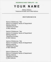 013 Ideas Reference For Sheet Format List References