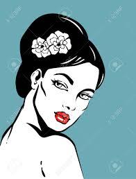 Vector Illustratie Van Mooie Vrouw Met Elegante Kapsel Geïsoleerd Op Gekleurde Achtergrond Kapsel Met Bloem Voor Lang Haar