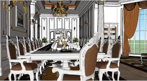 sketchup 3d model luxury 3d dinig room by na nawamarath please