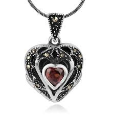 sterling natural marcasite pendant necklace