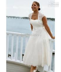 plus size wedding dresses with sleeves tea length discount hot selling tea length a line lace bridal dresses plus size