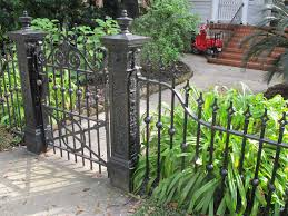 Exterior:Graceful Small Wrought Iron Fence Design In Front Yard Ideas Cool Fence  Design Ideas