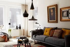 cozy living room design with unique oversized pendant lamps