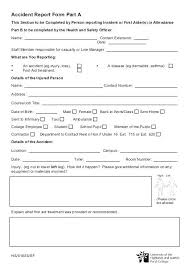 Accident Form Template Health Safety On Incident Report