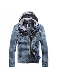 moruancle fashion mens warm denim jackets with hood fleece lined jeans jacket coats hood detachable on closure thick thermal