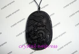 black obsidian dragon phoenix pendant crystal empress feng shui