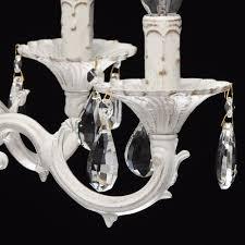 Mw Light 371012605 Kerzen Kronleuchter Shabby Chic Klassisch Weiß Metall Mit Kristall 5 Flammig E14 X 60w