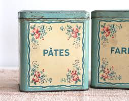 French Canisters Kitchen Pair French Floral Kitchen Tins Bayside Vintage