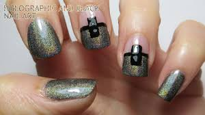 Holographic and Black Nail Art - YouTube