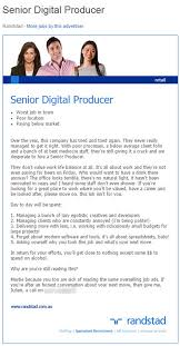 baby advertising jobs melbourne recruiter randstads honest job ad for senior digital