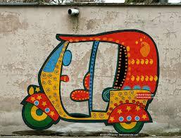 auto rickshaw a wall painting