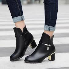 Designer Black Booties Women Shoes Square Heel Solid Ankle Boots For Women Basic Black Booties Pu Leather Boots Designer Snow Botas De Mujer Ankle Booties Combat Boots For