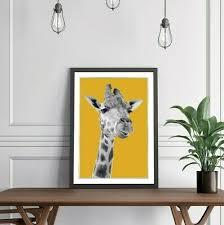 giraffe black and white yellow mustard