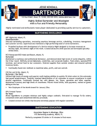 Bartendending Responsibilities Resume Sample And Bartending Job