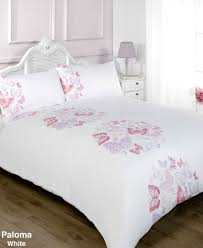 paloma white pink and lilac erfly duvet cover bedding set king size
