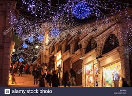 Christmas Lights In Venice Christmas Lights At Rialto Bridge In Venice Italy Stock