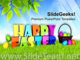 Happy Easter Theme With Multicolored Eggs Theme Powerpoint