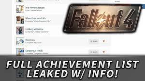 fallout full achievement list leaked total achievements fallout 4 full achievement list leaked 51 total achievements