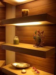 floating glass shelves with led lights